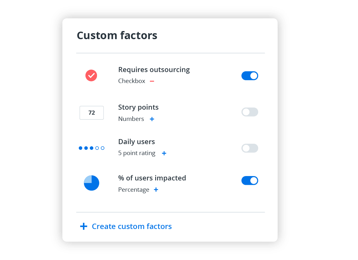 4 custom-named factors with on and off toggle